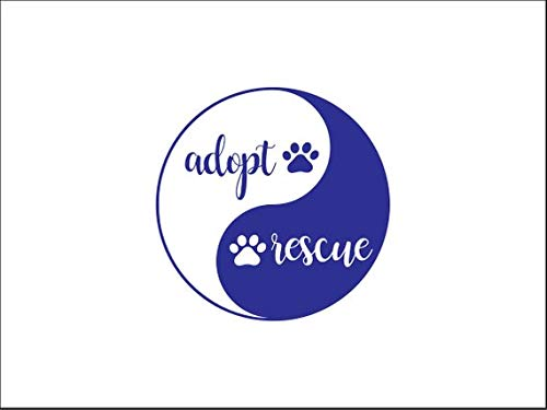 kiskistonite Adopt Rescue Vinyl Decal, Animal Adoption Decal, Animal Lover Tumbler Decal, Animal Rescue Decal, Shelter Dog, Crazy Cat Lady, Animals, Decal for Wall Bedroom MacBook 25 inches