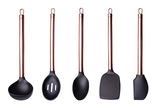 Copper Cooking Utensils, Serving and Baking - CHERUB Kitchen Utensils Set with Black Silicone & Copper Stainless Steel handle - 5 Piece Non-stick, Heat Resistant LFGB Certified BPA Free
