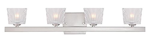 Satin Platinum Volare 4 Light Reversible ADA Compliant Bathroom Vanity Light