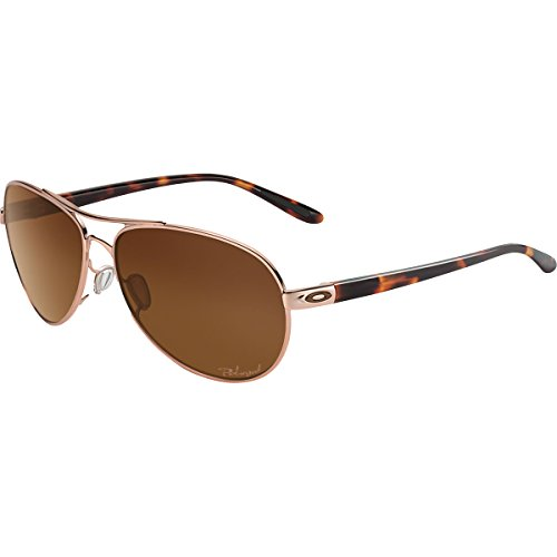 Oakley Women's Feedback Polarized Iridium Aviator Sunglasses, Rose Gold, 59 mm by Oakley