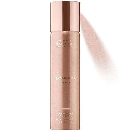 Patrick Ta Major Glow Highlighting Mist 1.6 Oz! Shimmer Pearl Highlighter Spray for Face and Body! Nourish the Skin, Glossy Shine and Long Lasting Wear! (Pink Pearl)