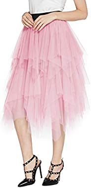 Urban CoCo Women's Sheer Tutu Skirt Tulle Mesh Layered Midi S