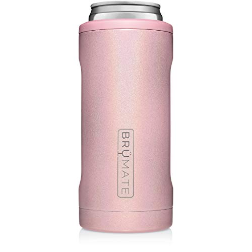 BrüMate Hopsulator Slim Double-walled Stainless Steel Insulated Can Cooler for 12 Oz Slim Cans (Glitter Blush) (Glitter Clearance)