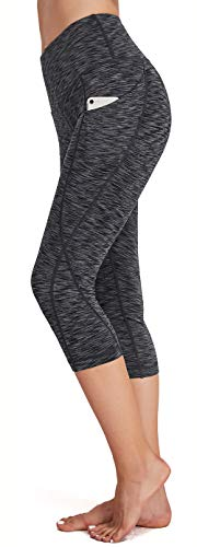 Women's High Waist Yoga Capri Leggings, Workout Gym Pants with Pockets, Tummy Control Running Exercise Tights, Non See-Through, 4 Way Stretch Grey M