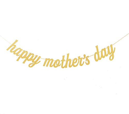(Qibote Mother's Day Banner Gold Glitter Happy Mother's Day Banner for Mother's Day Party Decorations)