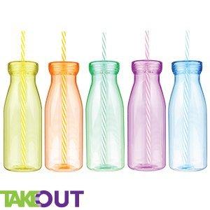 5 botellas para batidos y smoothies, gran tamaño, con tapas de rosca y pajitas