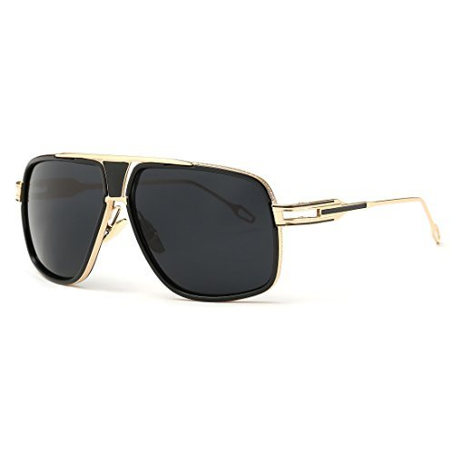 AEVOGUE Aviator Sunglasses For Men Goggle Alloy Frame Brand Designer AE0336 (Gold&Black, - Designer Sunglasses Brand