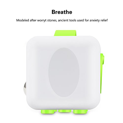 QQPOW Cube Relieve Stress for Adults Children Anxiety Attention Relieves Stress and Anxiety Release Stress Toy (White and Green) -