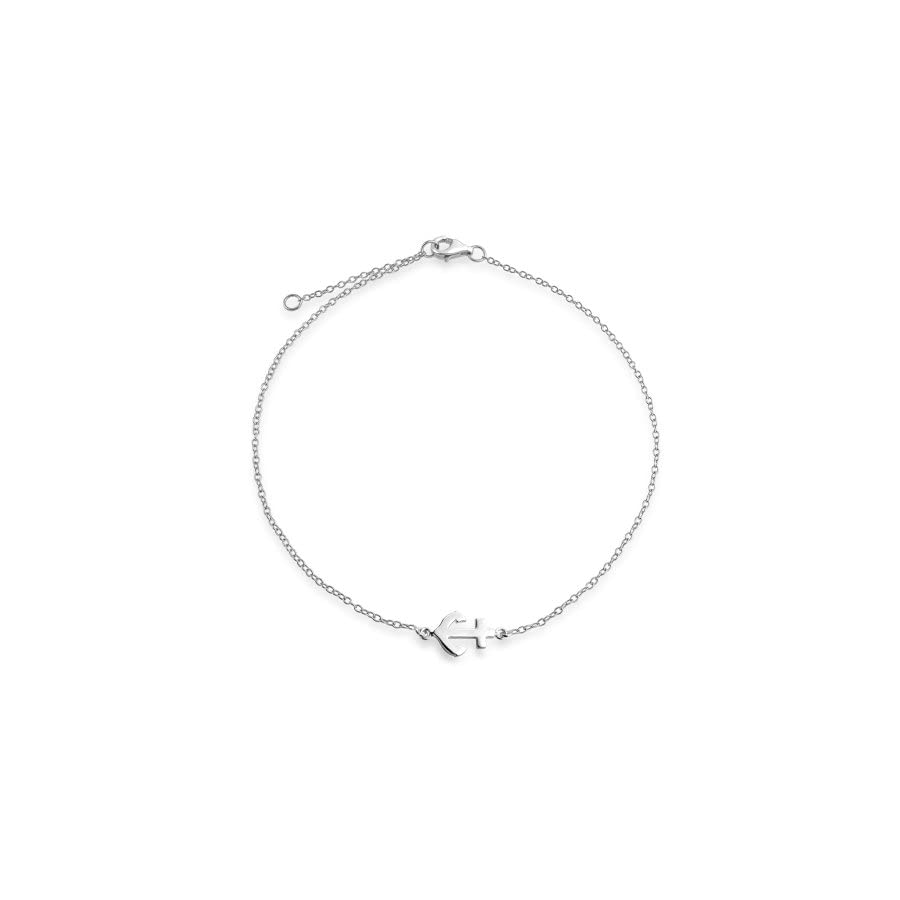 Nautical Anchor Adjustable Sterling Silver Anklet 9in
