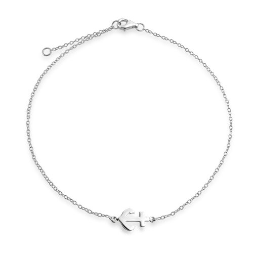 Bling Jewelry Nautical Anchor Adjustable Sterling Silver Anklet 9in
