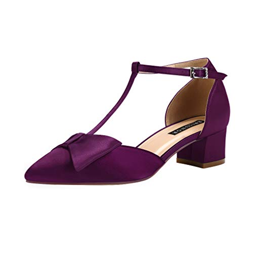 ERIJUNOR E0079 Bow Shoes Comfortable Low Heels for Women Pointy Toe T-Strap Wide Width Evening Wedding Satin Shoes Plum Size 11 (Dorsay Style T-strap Pump Shoes)