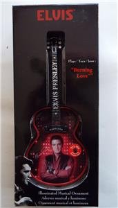 NEW ELVIS PRESLEY Illuminated Musical Burning Love Guitar Christmas ORNAMENT