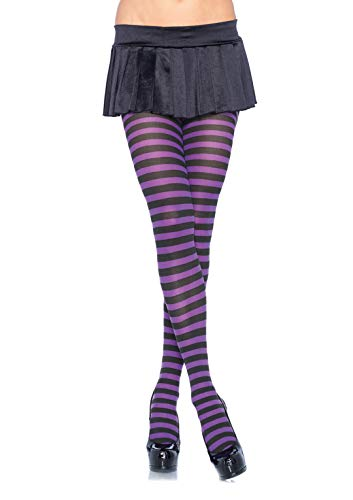 Leg Avenue Women's Plus Size Nylon Striped Tights, Black/Purple, ()