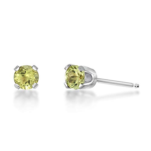 (Lavari - .24 CT Round 3MM Green Peridot 14K White Gold Stud Birthstone Earrings )