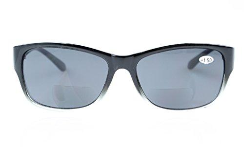 Lente 75 Marco clear Bifocales Gafas Lente Clásico Negro Gris gris sol 1 de Eyekepper Tf6Xnqwx
