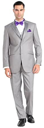 Mens 2 Button 3 Piece Modern Fit Walton Tuxedo with Vest Grey 36R