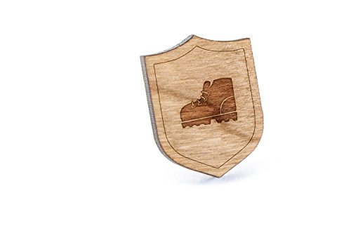 Lovely Hiking Boot Lapel Pin, Wooden Pin And Tie Tack | Rustic And Minimalistic  Groomsmen Gifts