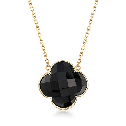 Ross-Simons 14mm Black Onyx Clover-Shaped Drop Necklace in 14kt Yellow Gold
