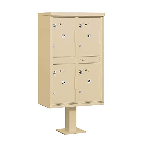 Parcel Locker Usps Aluminum Access - Salsbury Industries 3304SAN-U Outdoor 4 Compartments-USPS Access Parcel Locker, Sandstone