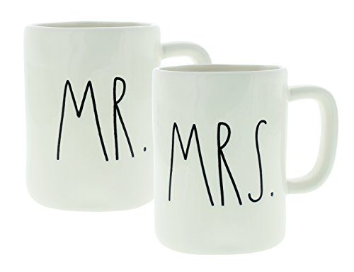 (Rae Dunn Artisan Collection Mr. & Mrs. Set of (2) Mugs By Magenta, White)