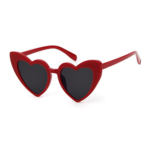 BOLD Retro Heart MOD Thick Frame Clout Goggles Cat Eye Lens Sunglasses (Grey lense Red frame, - Mom Sunglasses