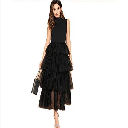 - Usshopsksw Glamorous Black Mixed Media Layered Contrast Mesh Ruffle Long Dress Elegant Mock-Neck Sleeveless Spring Dresses (S)