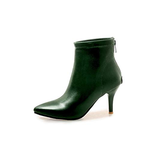 AN Womens Pointed-Toe Zipper DarkGreen Urethane Boots DKU02083-9 B(M) -