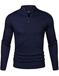 Mens Casual Slim Fit Zip up Pullover Sweaters Mock Neck Polo Sweaters with Ribbing Edge