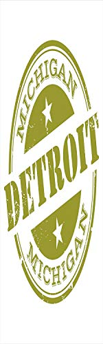 Detroit Decor 3D Decorative Film Privacy Window Film No Glue,Frosted Film Decorative,Aged Grunge Detroit Michigan Stamp Design with Stars Tourism Travel Decorative,for Home&Office,17.7x70.8Inch -