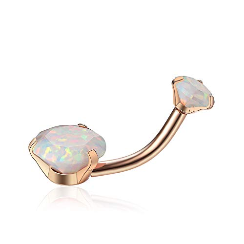 Opal Belly Button Rings 14G Surgical Steel Internally Threaded Rose Gold Belly Ring for Women Girls Curved Barbell Navel Rings Belly Piercing Jewelry,Opal DIA/Weight 5mm(0.3ct)/8mm(1.0ct)(Opal17)