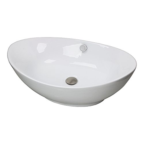 GotHobby Faucet Bathroom Ceramic Egg Vessel Sink Basin & Brushed Nickel Popup Drain Combo