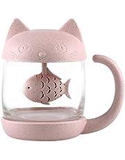 Cat Glass Tea Mug Water Bottle-with Fish Tea Infuser Strainer Filter 250ML(8OZ)