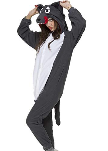 NEWPJS Grey Wolf Onesie Adult Women Men Halloween Animal Pajamas Cosplay Sleepwear Costume Cartoon Outfit L -