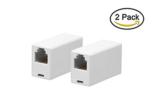 iMBAPrice RJ11 4P4C Straight Telephone Inline Coupler (2 Pack) Phone Cord Coupler