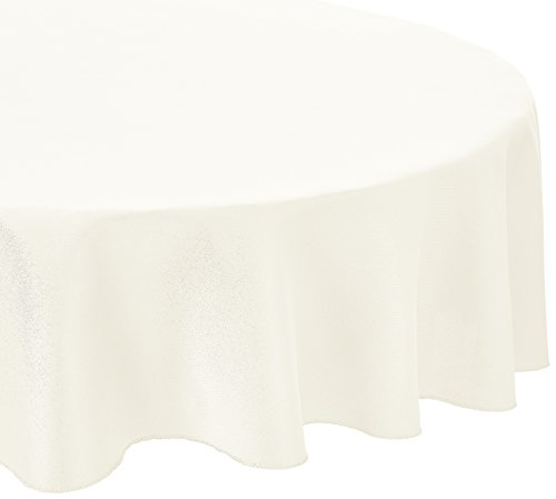 LinenTablecloth 70-Inch Round Polyester Tablecloth Ivory