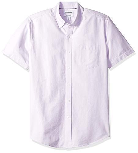 (Amazon Essentials Men's Regular-Fit Short-Sleeve Pocket Oxford Shirt, Lavender, X-Small)