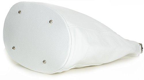 XL Beuteltasche schwarz Shopper Handtasche Damen italienisches Leder - groß (39 x 35 x 21 cm LxHxB) Weiß 1NkOm