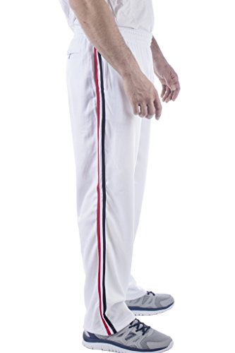 Vertical Sport Mesh Side Pockets Running Men's Track Pants (Large, White Basic) JP14 (Workout Pants White Men)