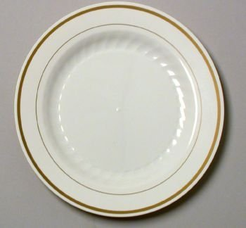 Masterpiece Plastic 6-inch Plates Ivory w/Gold Rim 15 Per Pack & Amazon.com | Masterpiece Plastic 6-inch Plates Ivory w/Gold Rim 15 ...