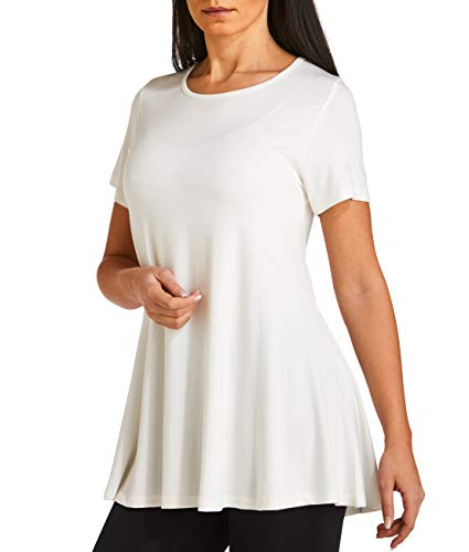 WEST ZERO TWO Women's Short Sleeve Loose Fit Flared Tunic Top (Large, Beige Tunic)