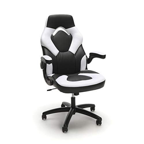 (OFM Model ESS-3085 Essentials Collection Racing Style Leather Gaming Chair - White)