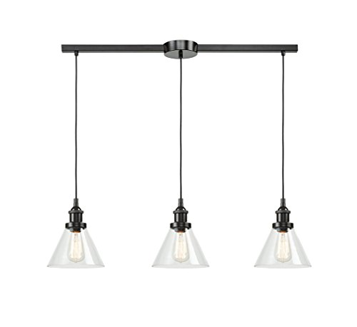 EUL Industrial Kitchen Island Lighting Clear Glass Hanging Lamp 3-Light Linear Pendant Fixture, Oil Rubbed Bronze
