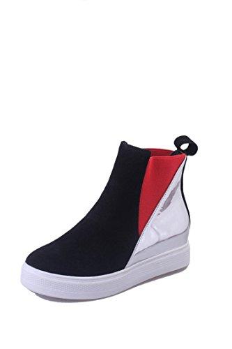 GTVERNH-El otoño y el invierno botas la cabeza redonda Martin botas talon plano gamuza de Europa y de AméricaBlackTreinta y siete Treinta y cinco