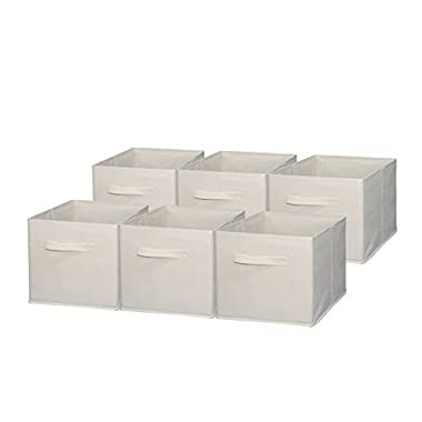Sodynee Foldable Cloth Storage Cube Basket Bins Organizer Containers Drawers, 6 Pack, Beige, Beige