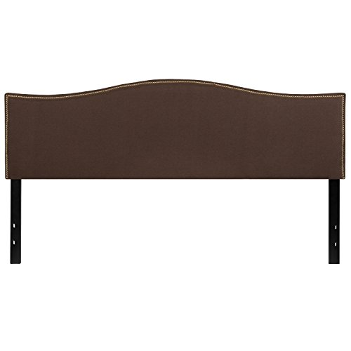 Flash Furniture Lexington Upholstered King Size Headboard with Decorative Nail Trim in Dark Brown Fabric
