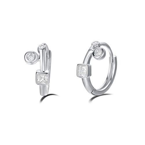 (Carleen White Gold Plated 925 Sterling Silver Cubic Zirconia CZ Huggie Hoop Earrings For Women Girls, 12mm)