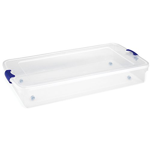 Homz Plastic Underbed Storage, Stackable Storage Bins with Blue Latching Handles, 60 Quart, Clear, 2-Pack