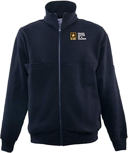 Firefighters Zip Turtleneck - Proud Sister of a Soldier U.S. Army Game Sportswear Firefighters Full Zip Turtleneck Navy