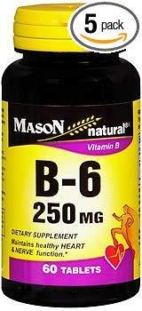 Mason Natural B-6 250 mg - 60 Tablets, Pack of 5