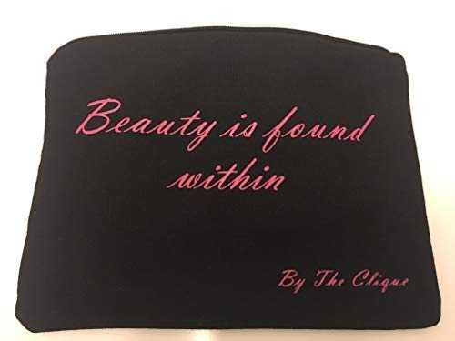Cosmetic Makeup Toiletry Travel Bag | Black Canvas With Pink Lining | Beauty Is Found Within - Printed | By The Clique